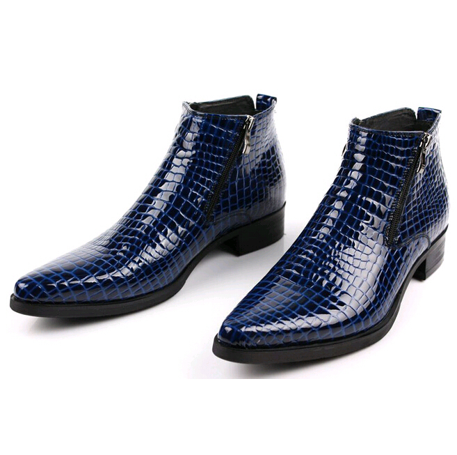 306a27caf42a Get Quotations · Mens Boots Casual Brand Genuine Leather Blue Snake Skin  Zipper Designer Shoes For Men Platform Boots