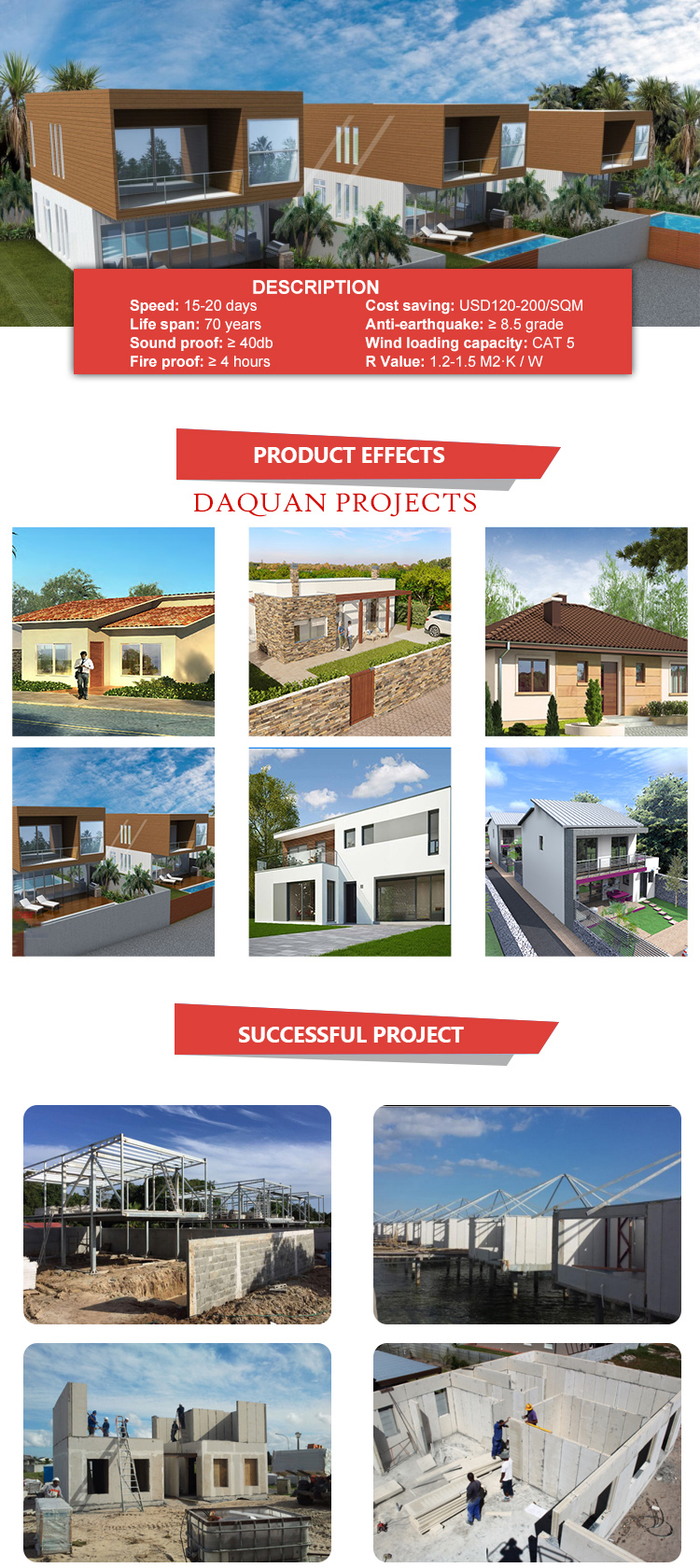 2 bedroom prefab homes with  new technology building materials