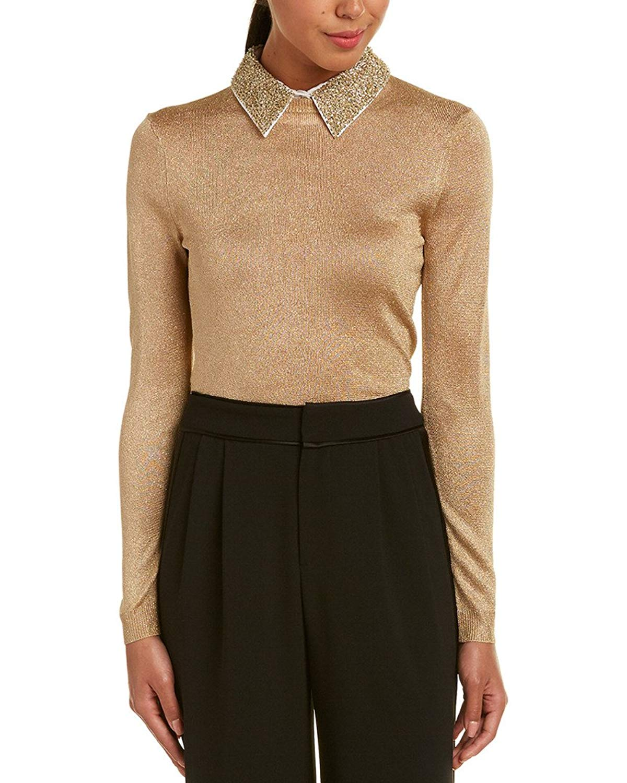alice + olivia Womens Dia Sweater, XS, Metallic