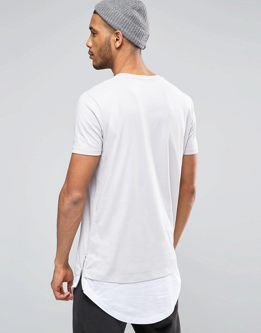 wholesale cheap plain long length white t-shirts men long line extended  blank t shirt b8936e116f0