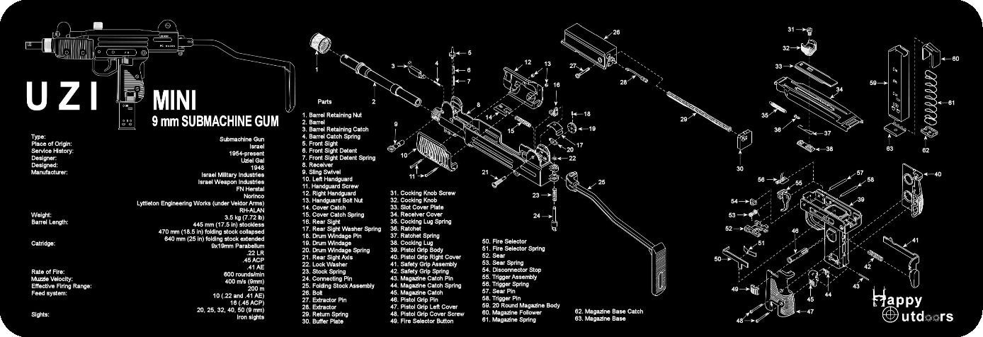 get quotations · the uzi armorers gun cleaning bench mat full parts list  view schematic new