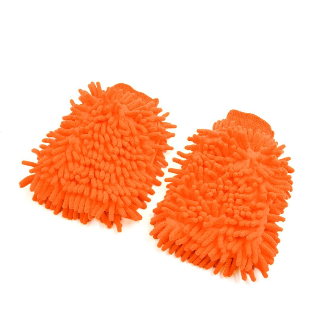 uxcell 2pcs Universal Orange Chenille Washing Cleaning Gloves Mittens for Car Vehicle