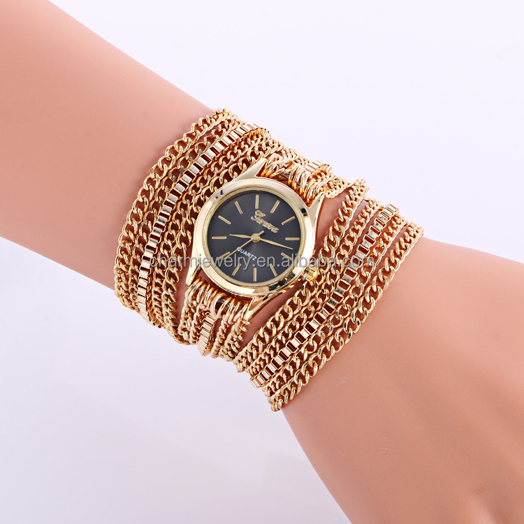 Multilayer Metal gold chain watch 2016 fashion bracelet watches for women and <strong>man</strong> BWL212