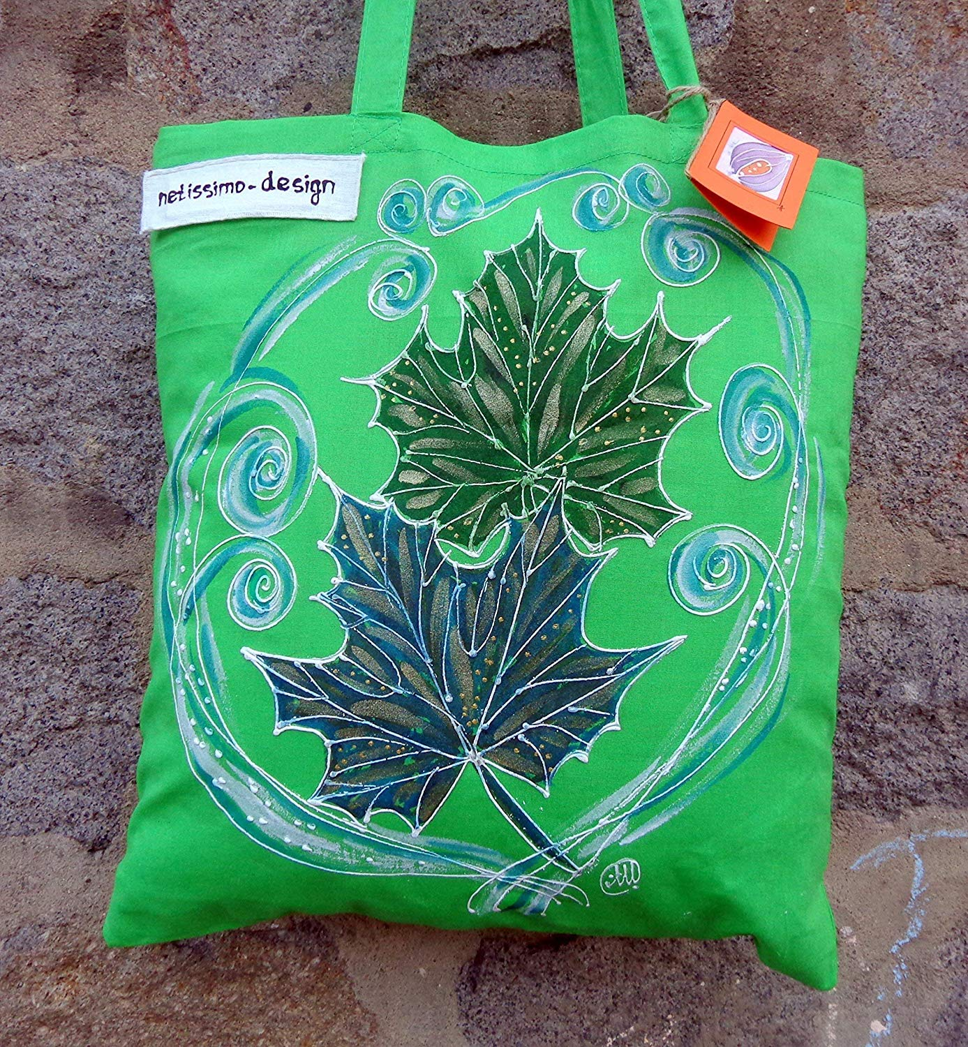 ff0570a3f Get Quotations · Sale!!!15% Off,Hand Painted Canvas Bag,Leaf Tote Bag