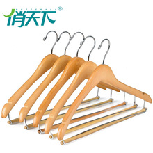 Multifunction high quality natural wall mounted wooden clothes hanger rack for hotels