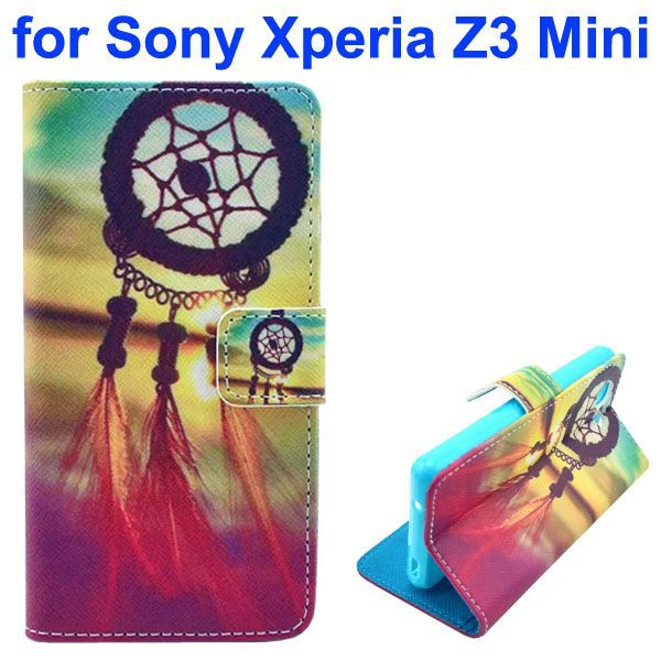 3D Color Printing Craft Cross Texture Wallet Leather Flip Phone Case for Sony Xperia Z3 Compact