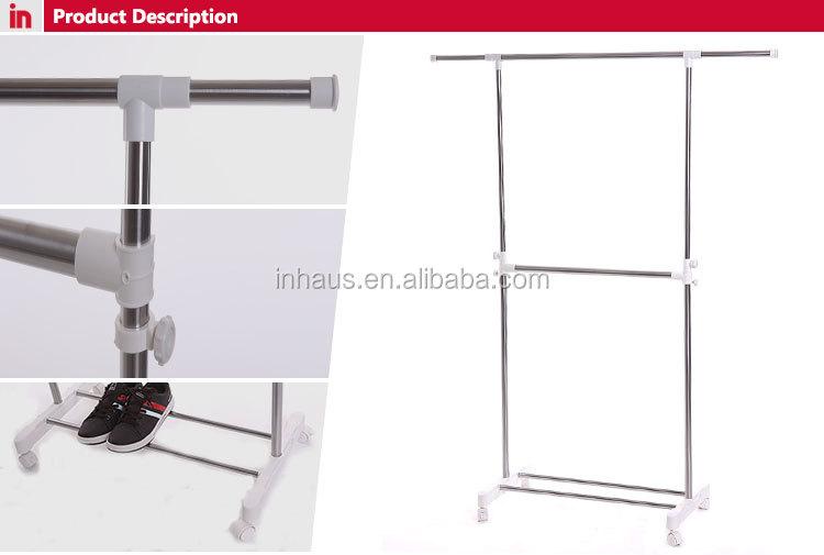 heavy duty singlepole stainless steel adjustable roman clothes rack