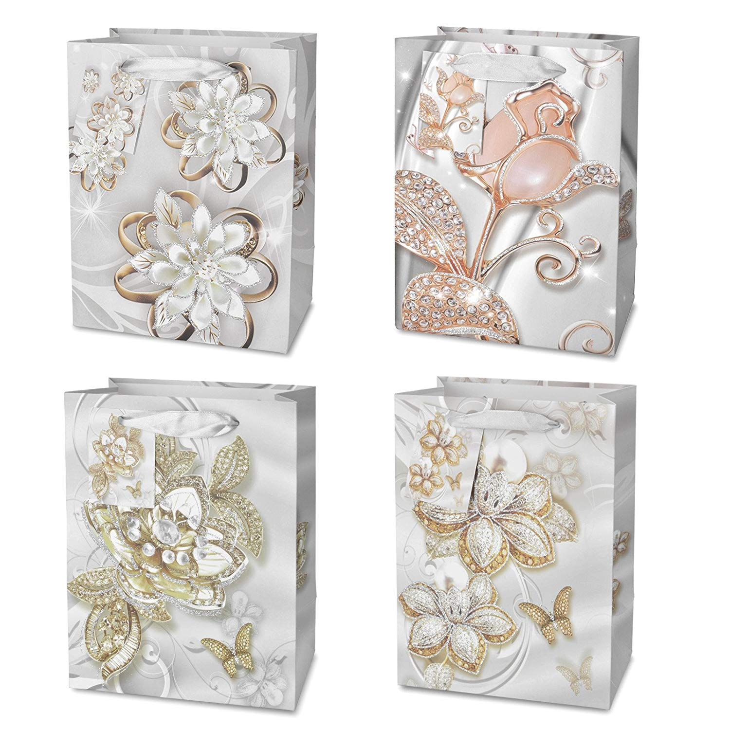 Wedding Party Gift Bags Bulk Glitter Rose Craft Bags with Handles for Bridal Birthday Gifts 4 Styles