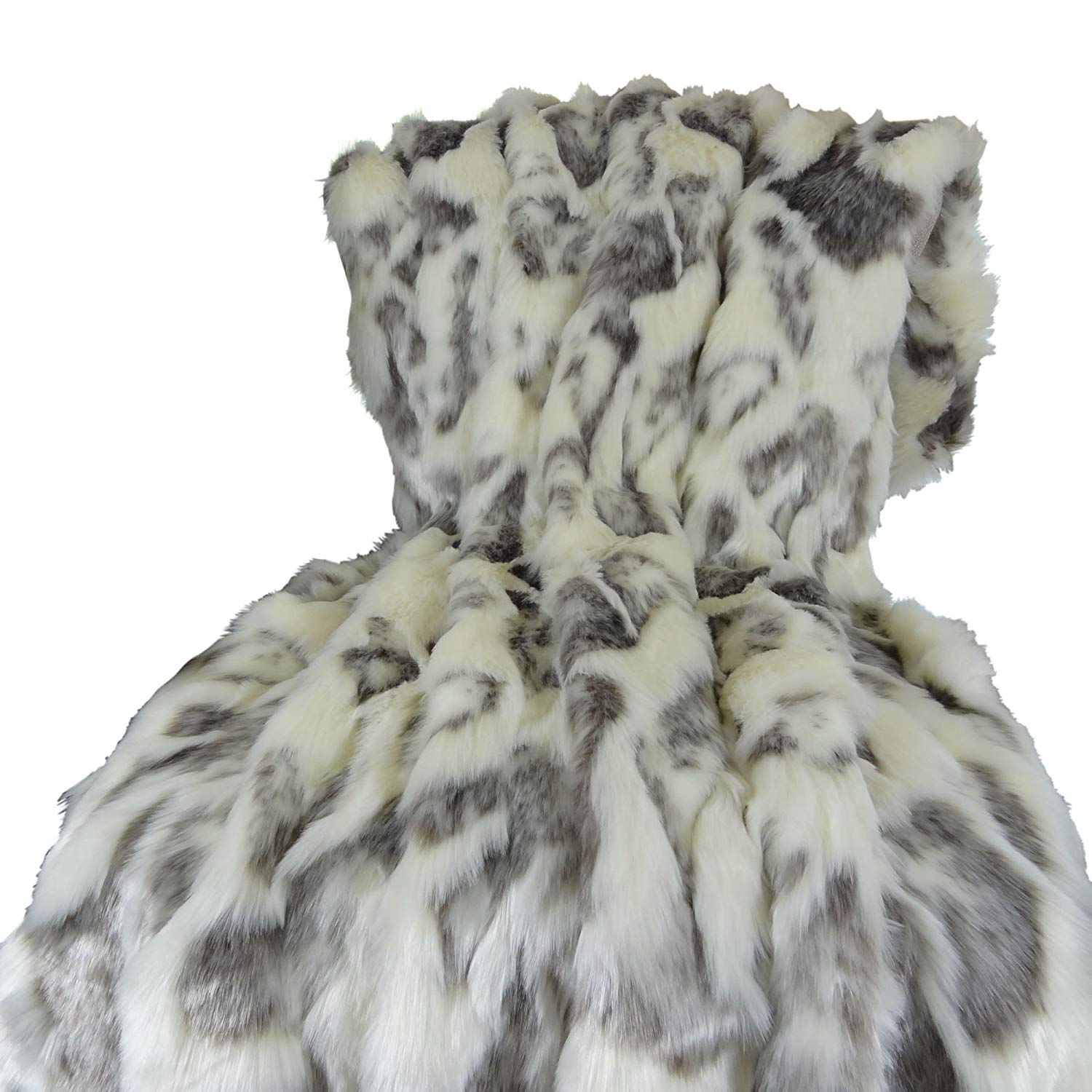 Thomas Collection Ivory Faux Fur Throw Blanket & Bedspread - Rabbit Faux Fur - Ivory Gray Luxury Faux Fur - Fur Throw Blanket - Luxury Soft Faux Fur, Made in USA, 16428