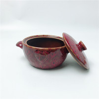 Non-stick Red kitchen ware Porcelain soup Cook Pot Ceramic Glazed for home
