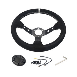 MIni NOB Classic 330mm 13 inch racing suede deep steering wheel , deep dish auto steering wheel sport suede wrapped