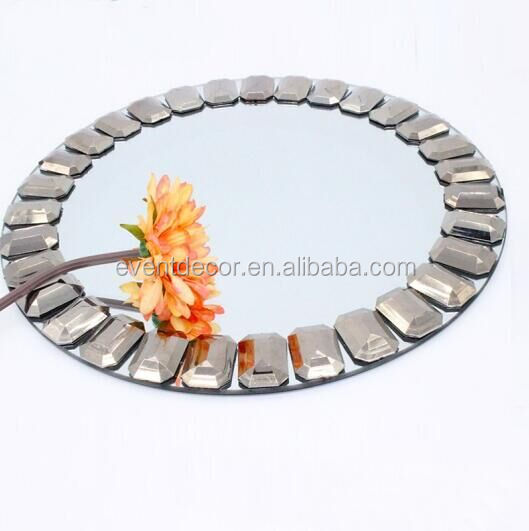 Cheap wedding big acrylic diamond and mirror charger plate for wedding table