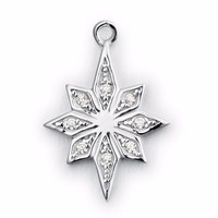 Christmas S925 italy silver snowflake flower stone jewelry charms wholesale