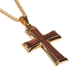 "Men's Jewelry Gold-Tone Ion-Plated Stainless Steel and Brazilian Rosewood Cross Pendants Necklace Matching 24"" Chain"