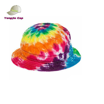 Fashion Design Custom Tie Dye Printing Colorful Rainbow Bucket Hat ... 4c84bd5fee7