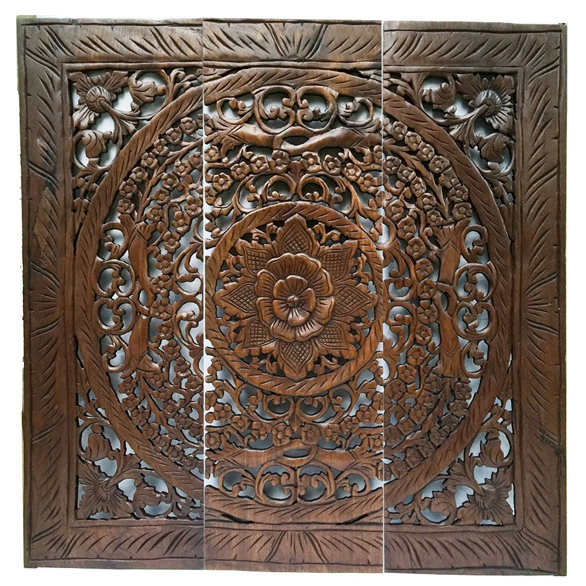 Large Wood Carved Wall Panels Fl Hanging Decorative Contemporary Decor