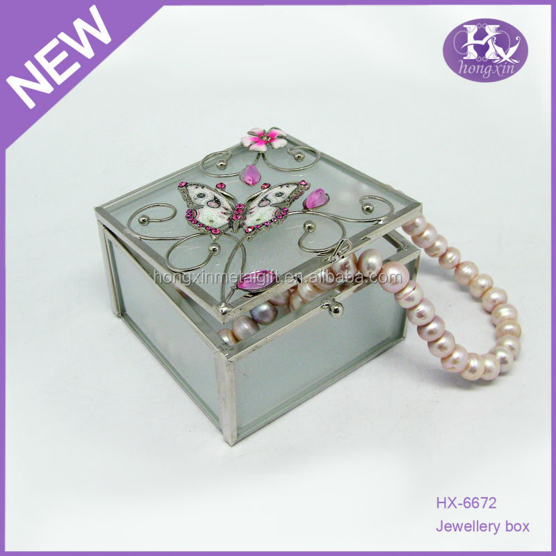HX-6672 New Square Small Jewelry ,Butterfly Trinket Box