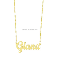 Manufacturer Hot Sale New Type Gold-plated Dainty Personalized Monogram Name Necklace Cursive Letter Pendant Necklace