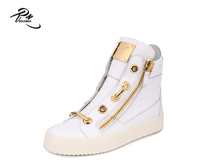 White leather shoes men sneakers with golden zipper and decoration wholesale