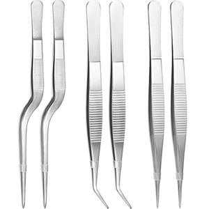 Food Grade Stainless Steel Tongs Tweezer with Cooking Utensils Professional Serrated Tips Beauty Utensil RM0005