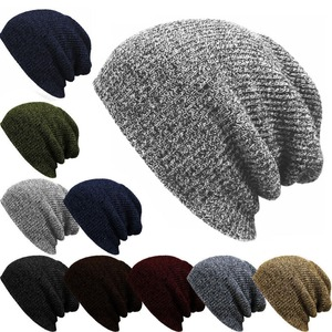 Multi Color Simple Design Winter Wholesale Winter Man's Beanie Knitted Acrylic Custom Slouch Beanie Hat