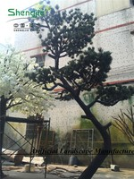 artificial big pine tree life-like with bend trunk for outdoor decoration made in guangzhou