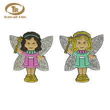 China Wholesale Hoge Kwaliteit Custom Enamel Angel Badge Mooie <span class=keywords><strong>Engel</strong></span> Reversspeldjes