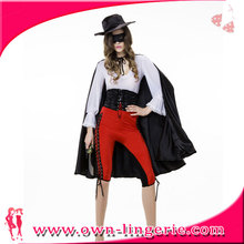 Sexy Spanish Adult Animal Tamer Ringmaster Costume with black cape and hat for Fancy Party