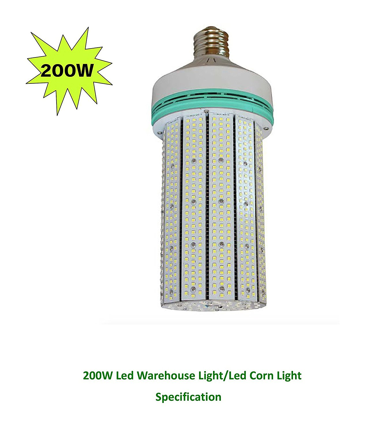 Leson 1000W Equivalent E39/E40 Mogul Base 200W Daylight 6000K LED Corn Light Bulb,Super Bright AC 100-277V for Parking Lot Street Lamp Post Lighting Garage Warehouse High Bay Barn Porch Backyard
