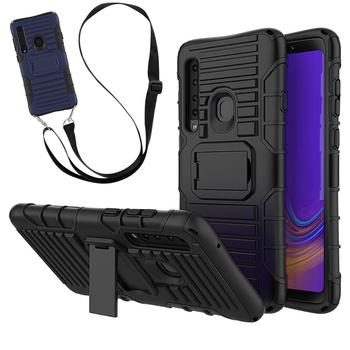 Cross Body Neck Strap Phone Case Rugged Shockproof Stand Necklace Cover For Samsung Galaxy A9 2018 A9S
