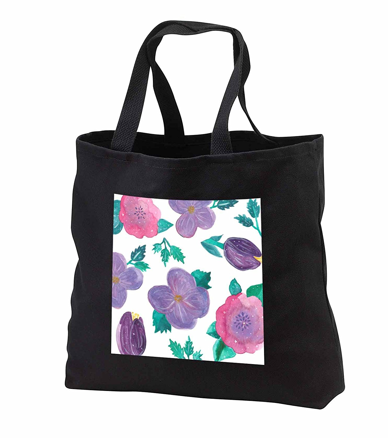 tb_252129 Janna Salak Designs Boho - Watercolor Floral Pink and Purple - Tote Bags