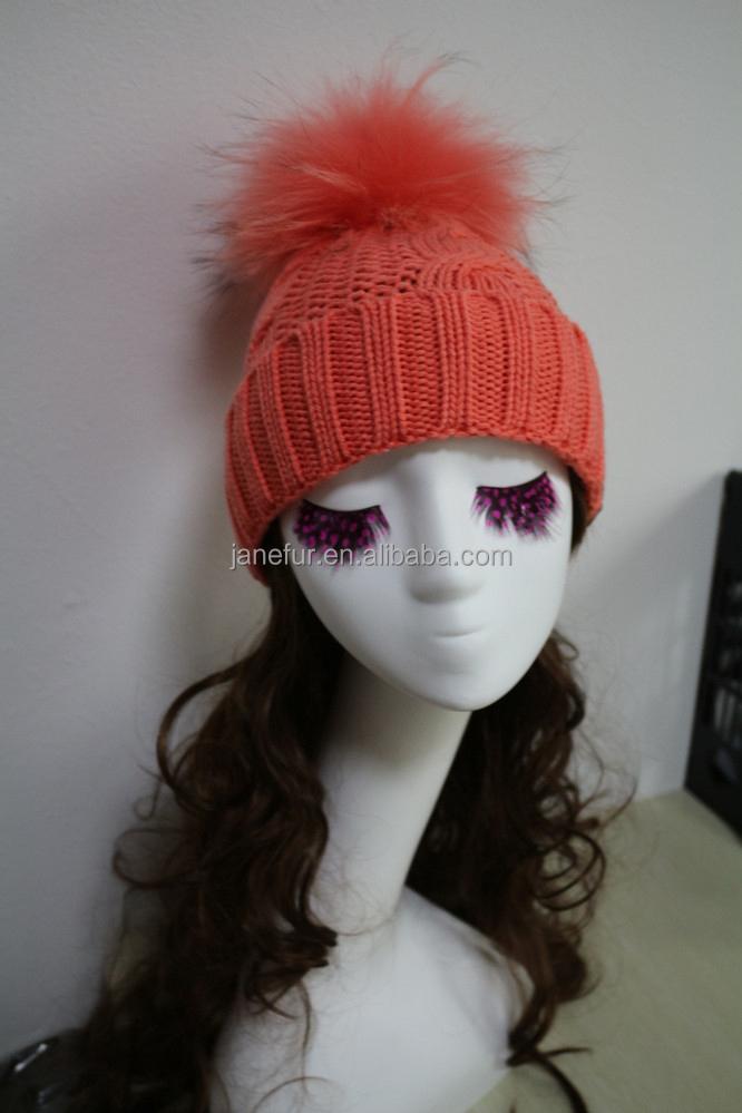 Light Orange Hot Women Fur Pom Pom Ball Knitted Crochet Baggy Bobble Hat  Beanie Beret Ski Cap 2d0abb8e06ab
