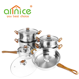 happy baron cookware set /super capsule bottom cookware /12pcs stainless steel cookware set