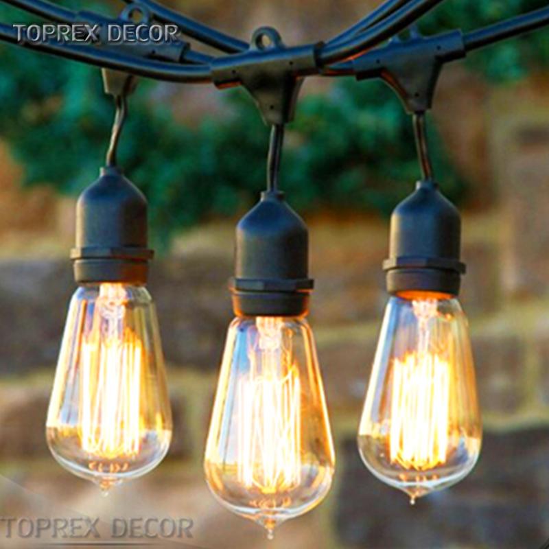 E27 Base Suspended Socket Cafe String Lights Outdoor Garden Bulb