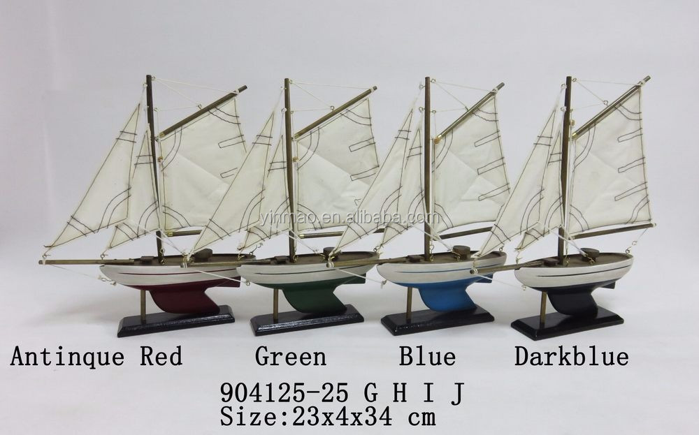 Set 4 Antique Finish Wooden Sailing Ship Model,24x4x34cm Small Boat Model,2  Mast Sail Yacht Model,Can Make Other Size! - Buy Old Ship Model,Cheap