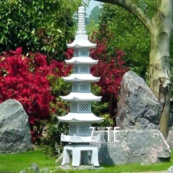 Garden decor ornament chinese marble pagoda statue