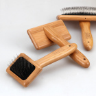 Wholesale Bamboo Pet Slicker Brush for dog grooming with Blister and Silver card packaging