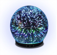 Best product in usa ultrasonic electric firework glass humidifier aroma essential oil diffuser with colorful light