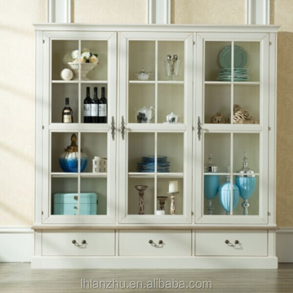 Provence Style Wooden Glass Display Cabinet Gs25-gw