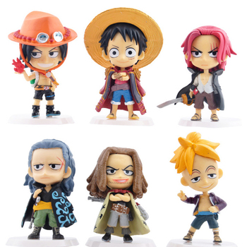 One Piece Monkey D. Luffy Shanks cute Figure sets for car interior decoration - 4.1 inch