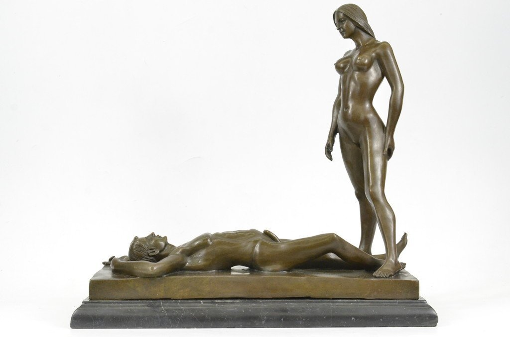 ...Handmade...European Bronze Sculpture Nude Male And Female Art Deco Hot Cast Hot Cast (1X-DS-557) Bronze Sculpture Statues Figurine Nude Office & Home Décor Collectibles Sale Deal Gifts