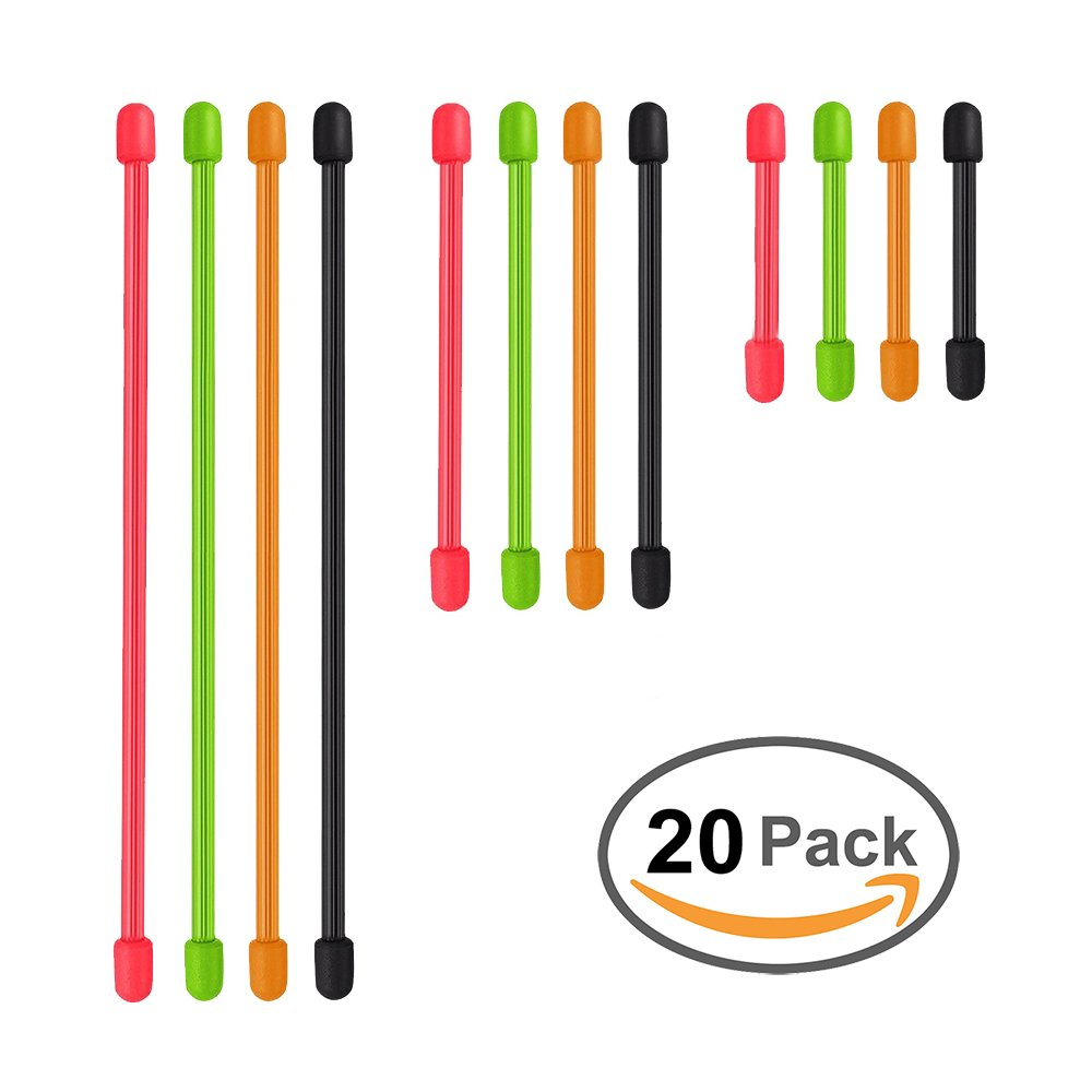 Reusable Rubber Twist Tie Assortment - 20 Pack - Assorted (Diameter-4mm, 3 inch, 6 inch, 12 inch)