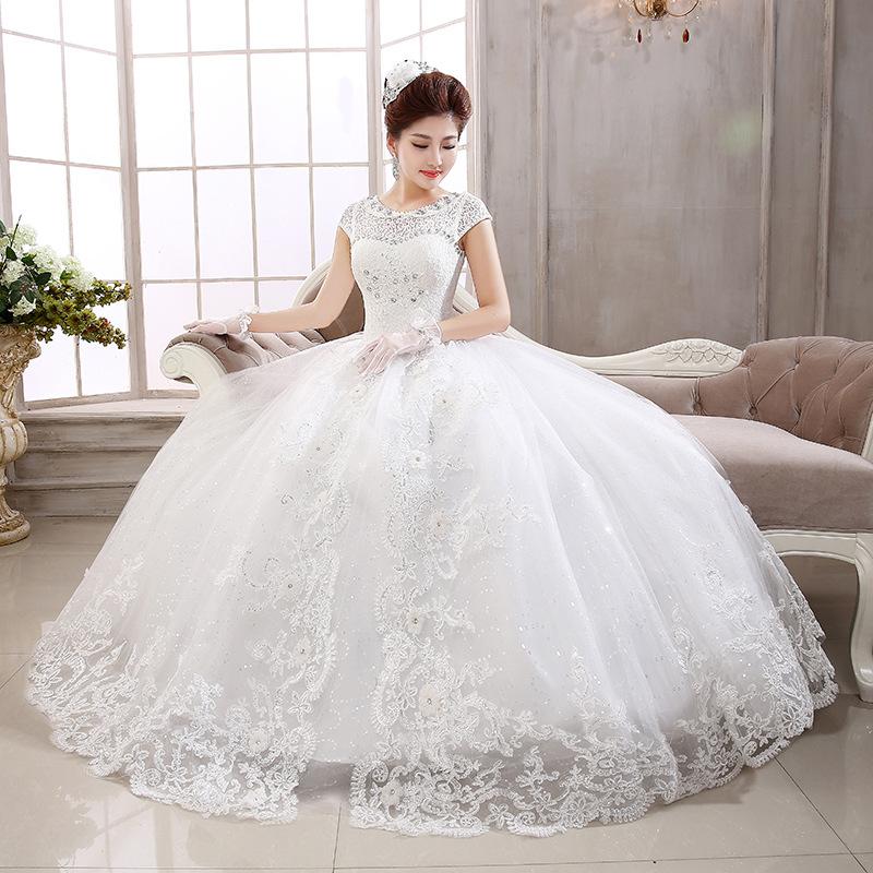 Novia 2015 Vestido Blanca Princesa Novia Buy Versión Encaje Encaje vestido Nueva Coreana Corta Nupcial vestido De Boda Vestidos Manga 66frw