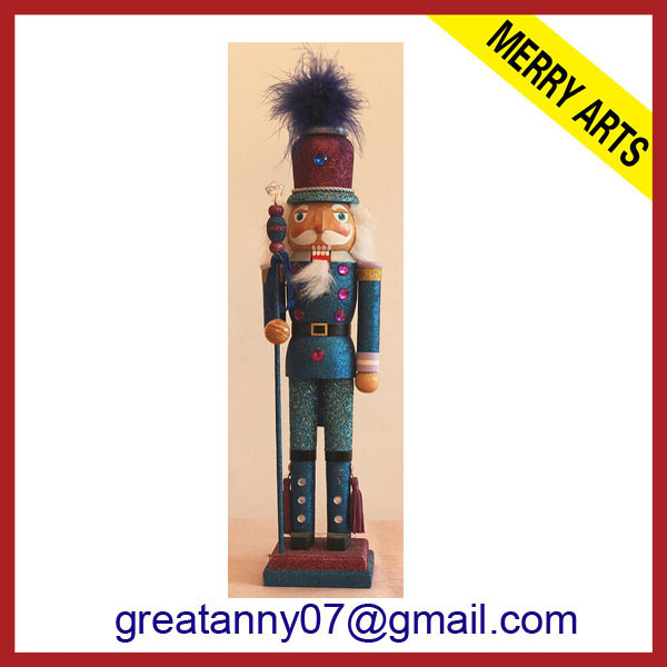 "14"" Sequined Uncle Sam Patriotic Nutcracker Christmas Table Top Decoration"
