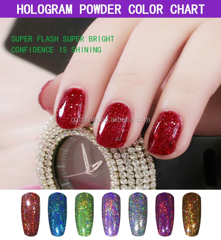 Hot holographic pigment powder one powder each color each Rainbrow ...