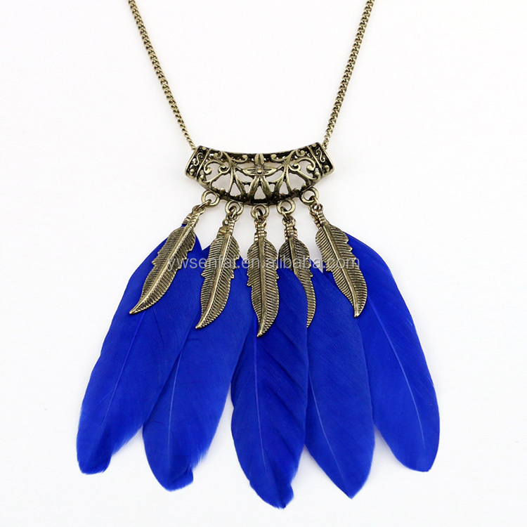 2017 Wholesale Custom Antique Bronze Color Fashion Women Apparel Sweater Feather Necklace