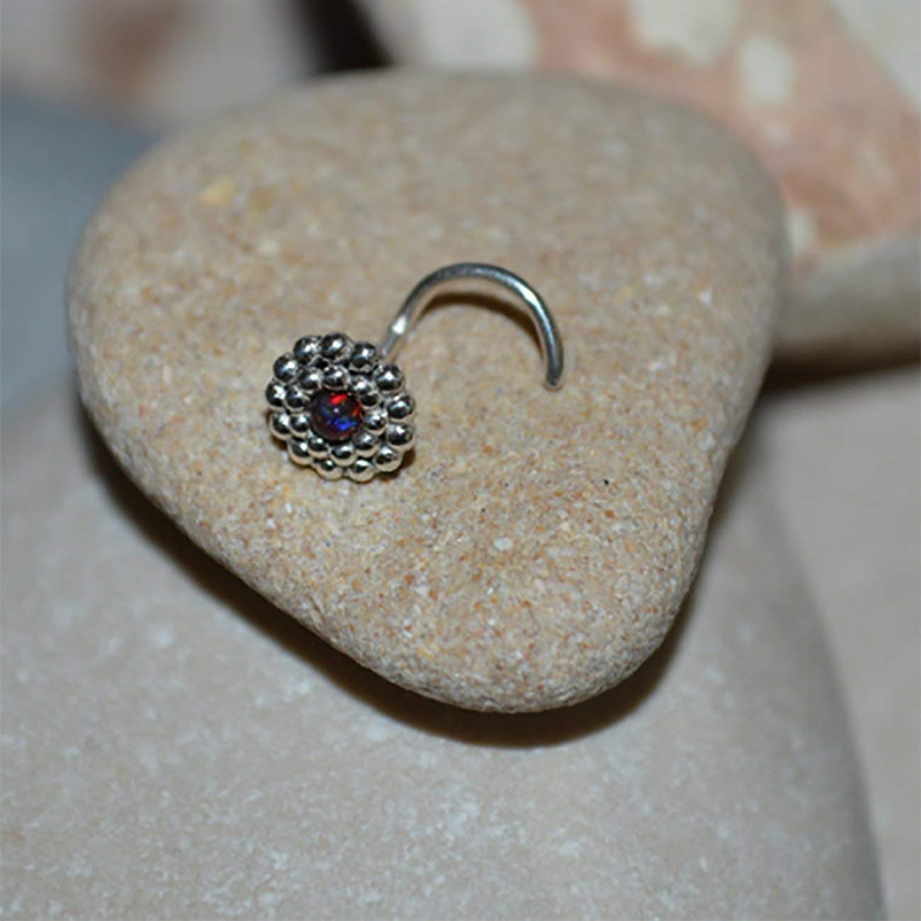 3b0dcec8c Get Quotations · 2mm Black-Red Opal TRAGUS STUD//Silver Nose Stud - Tragus Earring  Stud