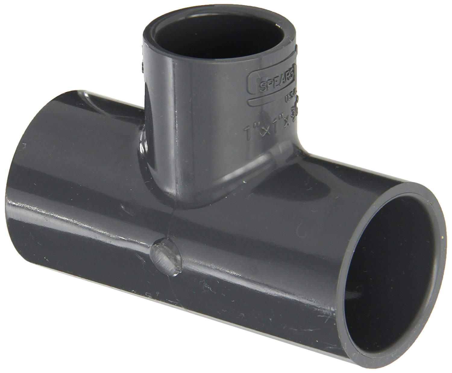 Spears 401 Series PVC Pipe Fitting Schedule 40 White Tee 1 x 3//4 Socket
