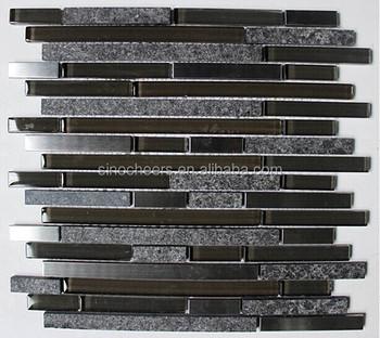 Strip Design Black Granite Stone Mix Stainless Steel Metal And Gl Mosaic Tile