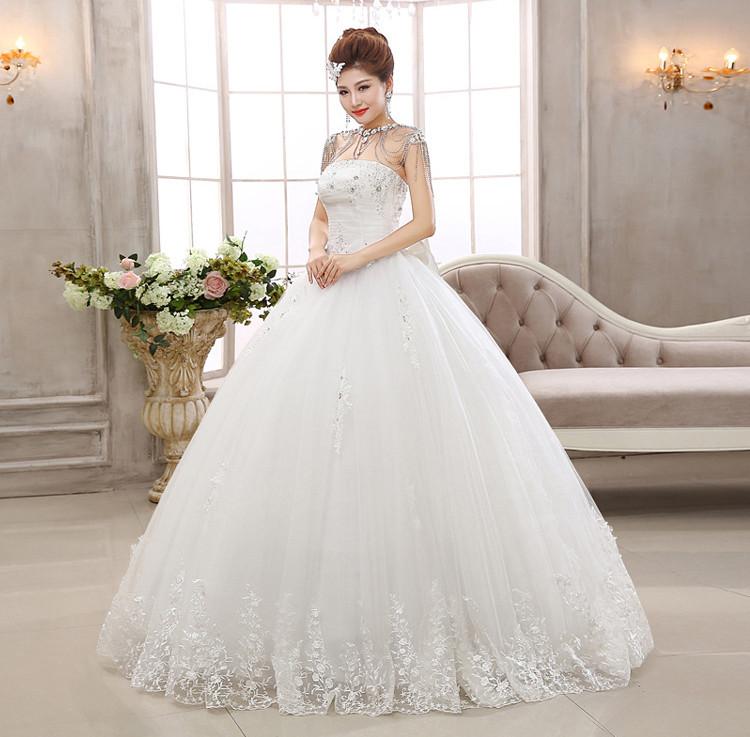 Bridal Diamond Tube Top Lace Princess Women Wedding Dress With Big ...